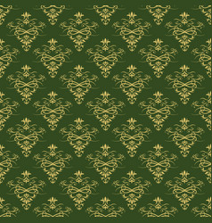Dark green background with beautiful gold ornament vector