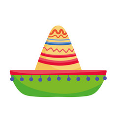 decorative hat traditional clothes mexico icon vector image