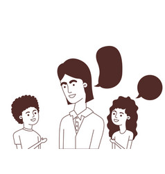 Father with children and speech bubble character vector