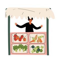 Female seller selling fresh vegetables at farmers vector