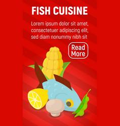 Fish cuisine concept banner comics isometric vector