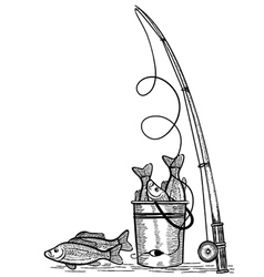 Fishing rod and fishes black drawing vector image