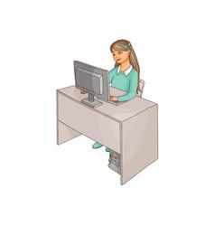 Flat girl using pc sitting at desktop vector