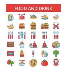 food drinks thin line icons linear vector image