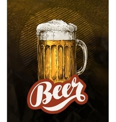 Fresh craft beer in glass mug Vintage poster for vector