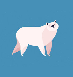 friendly white polar bear at blue ice winter vector image
