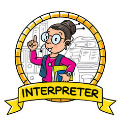 Funny translator or interpreter emblem vector