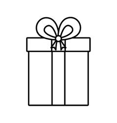 Gift box ribbon cube decorative linear vector