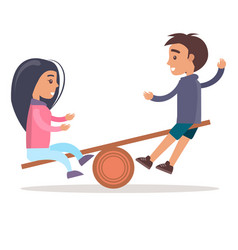Girl and boy ride seesaw isolated vector
