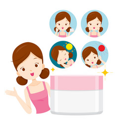 Girl with moisturizer packaging and icons vector