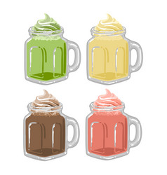 Glass square cups milkshakes or coffee with vector