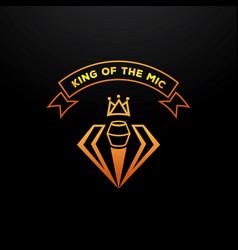 Golden king of the mic badge design with crown vector