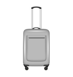 grey travel bag icon realistic style vector image