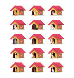 Group of dog breeds with houses vector