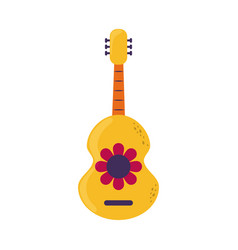 Guitar with flower musical instrument cinco de vector