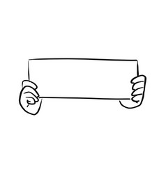 hand holding blank paper sign vector image