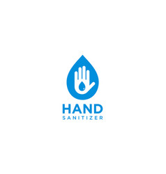 Hand sanitizer label with water drop shield vector