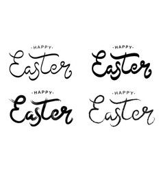 happy easter black paint lettering set vector image