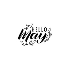 Hello may hand drawn lettering card with doodles vector