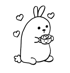 High quality cute bunny with coffee and sweets vector
