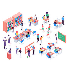 isometric school childrens and teacher in vector image