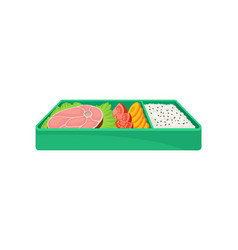 japanese food in green lunch box on white vector image
