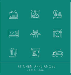 kitchen appliances linear icon set vector image