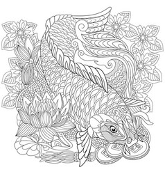 Koi carp adult coloring page vector