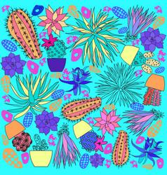 line art hand drawn doodle cartoon set of cactus vector image