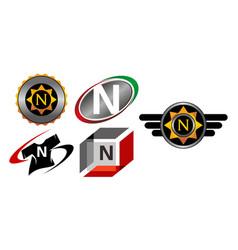 Logotype n modern template set vector