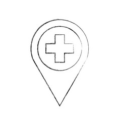 map pointer icon with cross hospital symbol vector image