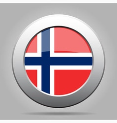 Metal button with flag of Norway vector