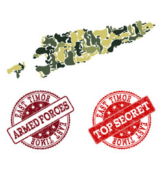 Military camouflage collage of map of east timor vector
