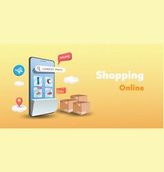 Mobile shopping online background modern shopping vector