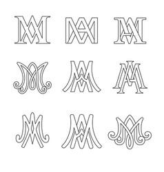 Monogram ave maria symbols set vector