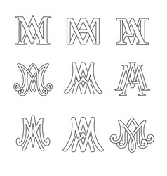 Monogram of ave maria symbols set vector