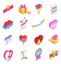 Mother Day isometric 3d icons vector image
