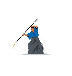 Naginatajutsu Japanese Samurai martial arts master vector