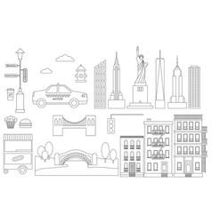 new york line icon elements vector image