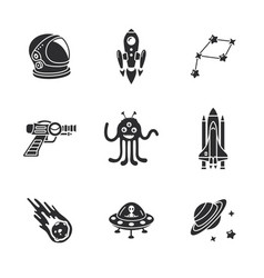 nine stylish space icons vector image