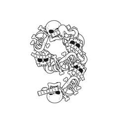 number 9 skeleton bones font nine anatomy of an vector image