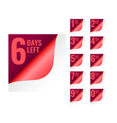 Number of days left tags in page curl style vector