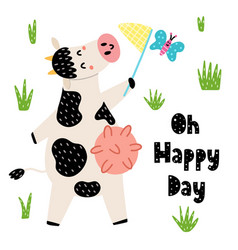 oh happy day cards with a cute cow catches a vector image