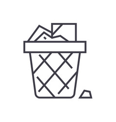 paper binoffice garbage line icon sign vector image