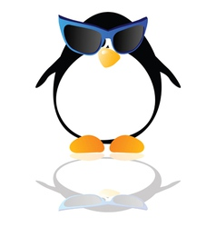 penguin with blue glasses vector image
