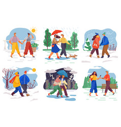 People on dates in winter summer and autumn set vector