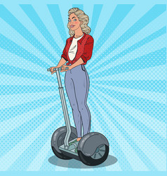 Pop art beautiful woman riding segway vector