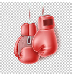 red pair of boxing glove on lace realistic vector image