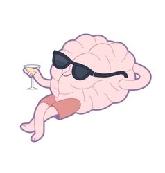 Relaxing with a glass of vermouth Brain vector image