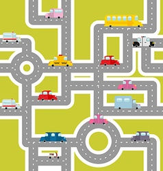 Road and transport seamless pattern cartoon map of vector